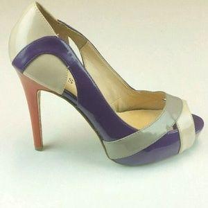 Guess Sz 9.5 Purple Orange Nude Grey Peep Toe